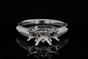 Solid 14K White Gold and 0.20ctw Diamond Semi-Mount