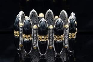 Konstantino Onyx, Black Spinel 18K/Sterling Bracelet