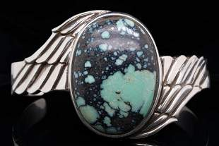 King Baby 37mm Spotted Turquoise & Sterling Cuff