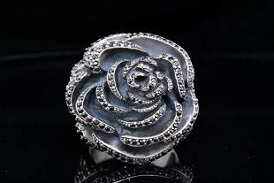 King Baby Black CZ & Sterling Silver Rose Ring