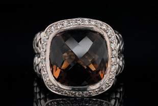 Scott Kay Smoky Quartz, Diamond & Sterling Ring