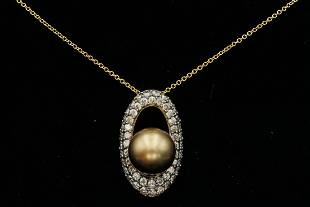 LeVian 1.00ctw Brown Diamond, 10mm Pearl 14K Necklace