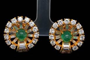 5.50ctw Diamond, 2.50ctw Emerald and 18K Ear Clips