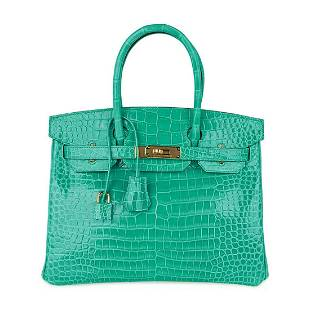 Hermes Jade Green Shiny Porosus Crocodile Birkin 30