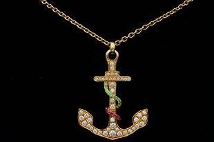 David Morris 1.50ctw Diamond, Sapphire & 18K Necklace