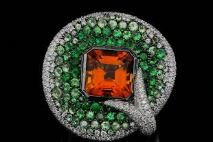 Maggioro 7ct Citrine, 4.75ctw Garnet & Diamond Ring