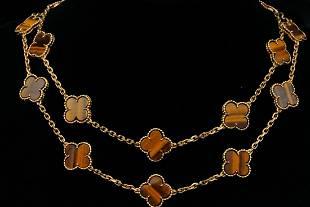 Van Cleef & Arpels Alhambra 18K/Tiger Eye Necklace
