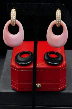 Cartier 2.50ctw Diamond, Coral, Onyx & 18K Earrings