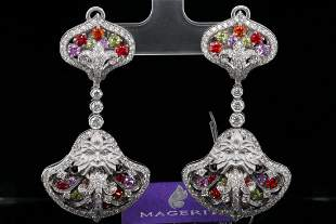 Magerit 6.25ctw Multi-Gemstone & Diamond Earrings