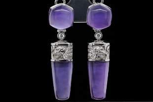 Magerit Babylon 6.40ctw Amethyst, MOP & 18K Earrings