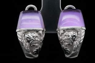 Magerit Babylon 9.50ctw Amethyst, MOP & 18K Earrings