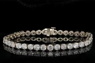 13.00ctw Diamond & 14K Yellow Gold Tennis Bracelet