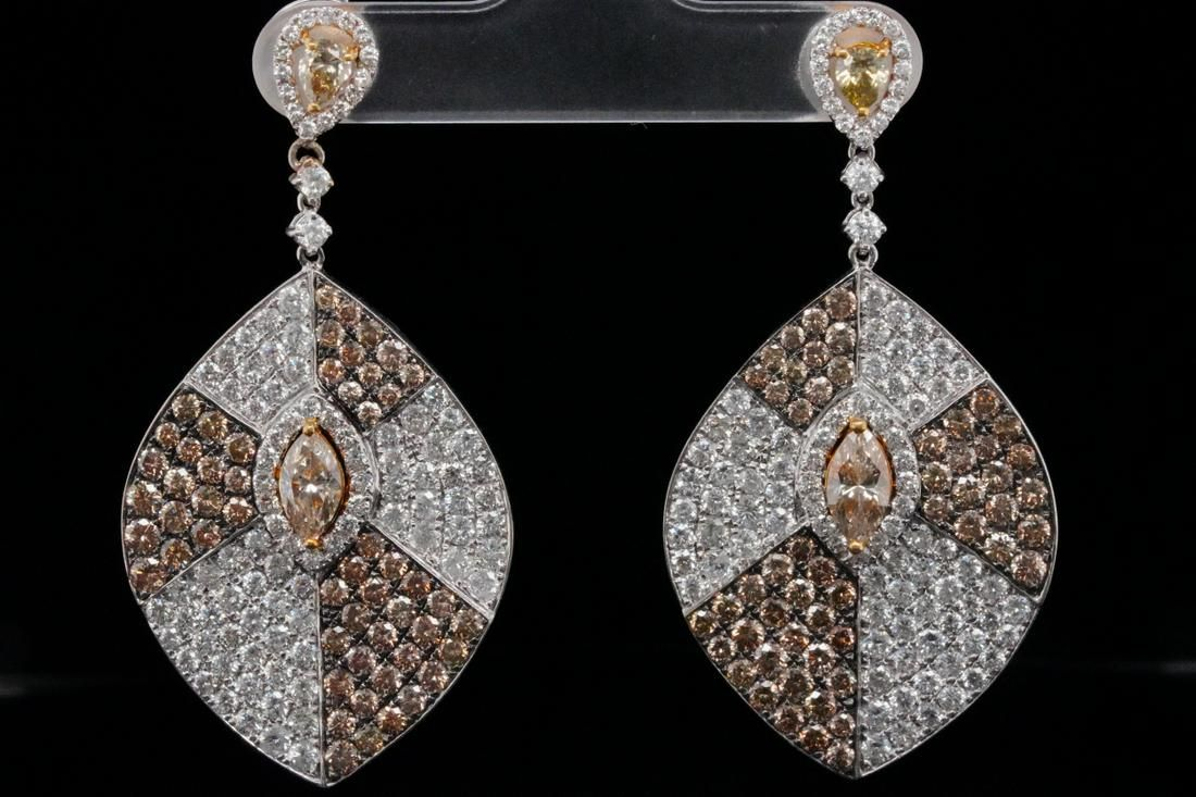 10.00ctw VS2-SI1 Brown & White Diamond 18K Earrings