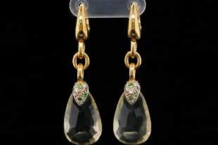 Pomellato Citrine, 1.20ctw Diamond & Garnet Earrings