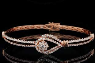 1.75ctw SI1-SI2/G-H Diamond and 18K Rose Gold Bangle