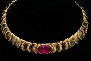 Marina B 11.50ct Tourmaline & Diamond 18K Necklace