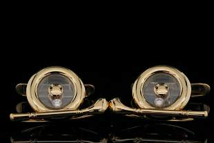 Chopard 18K Yellow Gold Cufflinks W/Diamond Accents