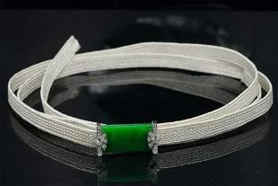 Mikimoto 13.50ct Jade, Diamond, 18K & Woven Necklace