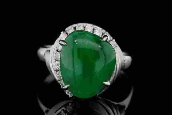 14mm Green Jade, 0.30ctw Diamond and Platinum Ring