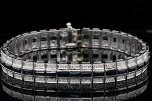 7.00ctw Blue Sapphire, 1.00ctw Diamond 18K Bracelet