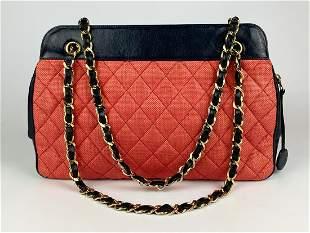 Chanel Vintage Woven Raffia and Leather Shoulder Bag