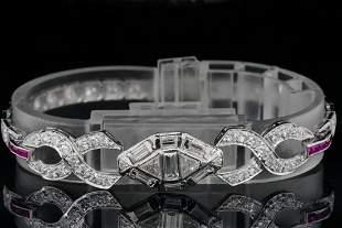 3.50ctw Diamond, 0.40ctw Ruby and Platinum Bracelet