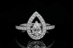 Fred Paris 0.93ctw VVS1-VVS2/F-G Diamond Plat. Ring