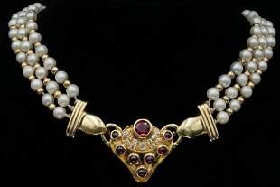 2.50ctw Pink Tourmaline, Diamond, & Pearl Necklace