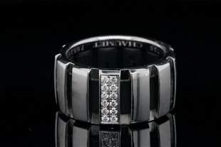 Chaumet 0.10ctw Diamond, 18K & Black Rubber Ring