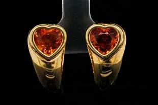 Piaget 4.50ctw Heart Cut Citrine & 18K Earrings