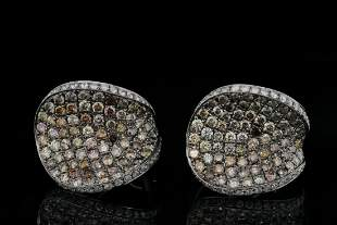 "5.00ctw Diamond and 18K White Gold 0.75"" Earrings"