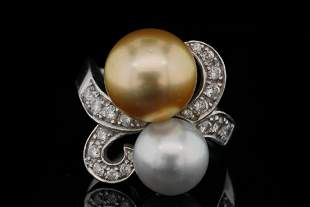 10mm-12mm Pearl, 0.50ctw Diamond and 18K Ring