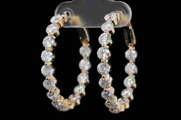 6.00ctw SI1-SI2/G-H Diamond and 18K Hoop Earrings