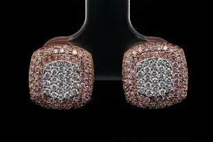 1.50ctw Pink and White Diamond 18K Stud Earrings