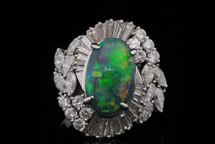 3.50ct Black Opal, 2.00ctw Diamond & Platinum Ring