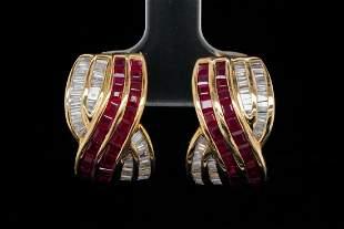3.50ctw Ruby, 1.50ctw Diamond and 18K Earrings