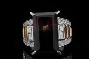 14.80ct Tri-Color Tourmaline, Diamond Plat/18K Ring