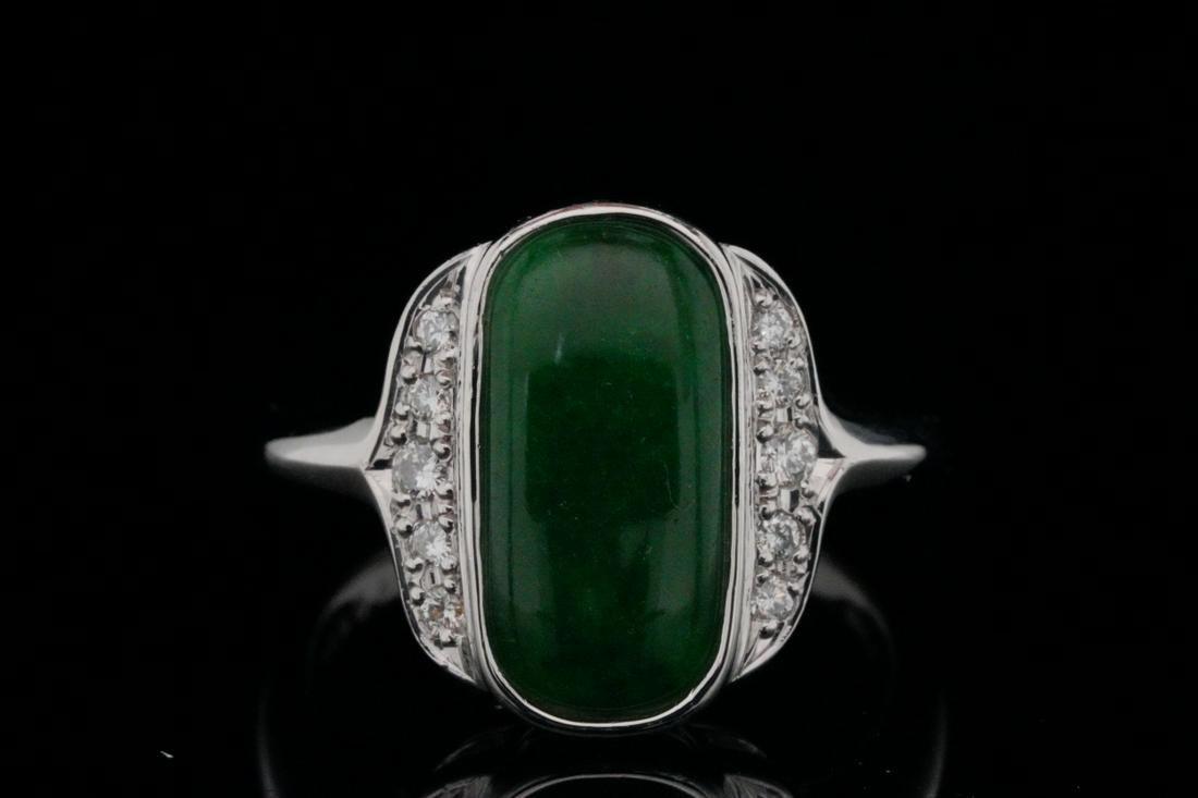13.5mm Green Jade and Platinum Ring W/Diamonds