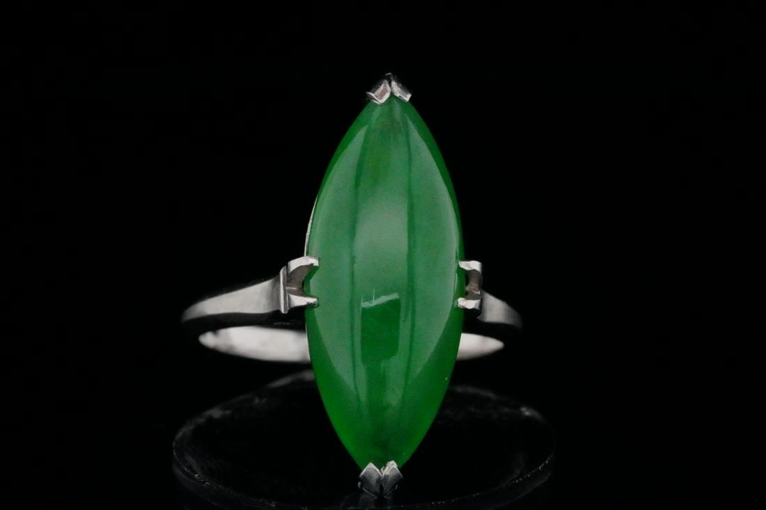 21mm Green Jade and Solid Platinum Ring