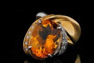 9.30ct Citrine, 0.30ctw Diamond & 18K/Platinum Ring