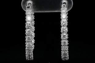 3.00ctw SI1-SI2/G-H Diamond and 14K Hoop Earrings