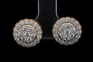 1.50ctw Diamond and 14K Yellow Gold Stud Earrings