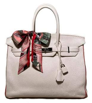 Hermes SO 35cm Birkin in White & Coral Leather
