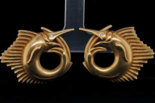 Kieselstein-Cord 1990 18K Swordfish Ear Clips