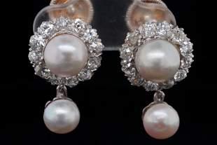 Cartier 2.00ctw Diamond, Pearl & Plat/18K Ear Clips