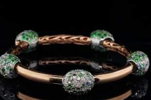 Pomellato 5.50ctw Sapphire & Diamond 18K/925 Bangle