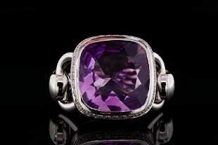 Poiray 8.35ct Amethyst, 0.25ctw Diamond 18K Ring