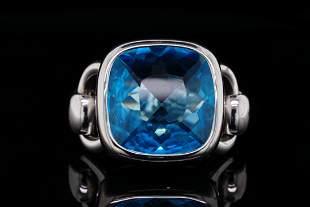 Poiray 12.40ct Blue Topaz & 18K White Gold Ring