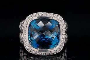 Scott Kay Blue Topaz, Diamond Sterling Silver Ring