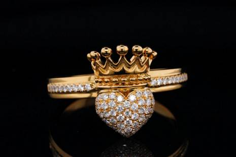 King Baby 0.50ctw Diamond 18K Crowned Heart Ring